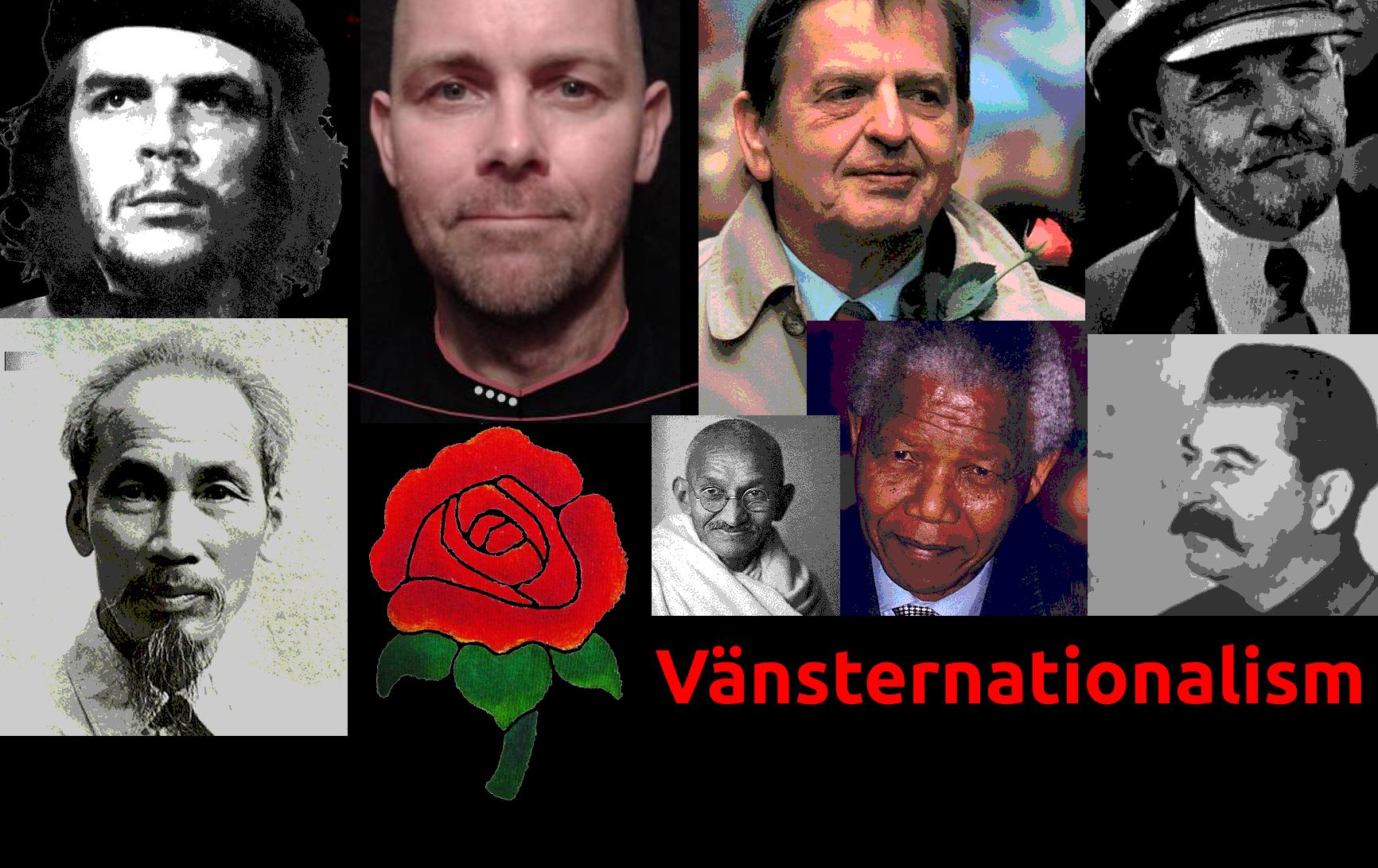 Bild på Martin Martin Gustavsson och Vetenskapliga partiets ros, omgiven av olika vänsternationalister